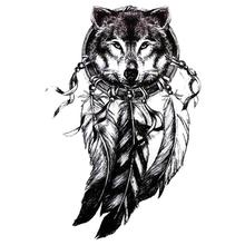 3D Wolf Head Black Tattoo Sticker Women Men 3D Body Art Wolf Dreamcatcher Indian Feather Flower Arm Temporary Tattoo Sticker Z3(China)
