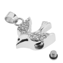Cremation Ash Holder Urn Memorial Keepsake Flying Bird Shape Pendant Jewelry with White Rhinestone Decor for Unisex(China)