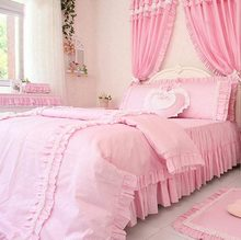 Romantic pink plaid bedding sets,twin full queen king cotton single double princess bedclothes bedskirt pillow case quilt cover