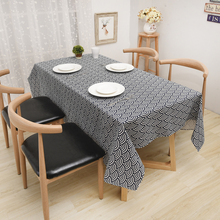 Creative Geometric Sector Pattern Tablecloth Linen Table Cloth Classic Black and White Rectangular Table Cover Tablecloth
