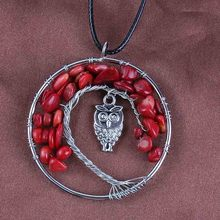 Kraft-beads Trendy Wire Wrapped Inlay Owl Tree Life Pendant Natural Red Coral Necklaces For Women With Rope Chain