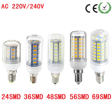 2017 New Arrival E14 LED Corn Bulb Samsung 5730 SMD light 220V 24 36 69 72 96 LEDs lamp Chandelier Spotlight indoor lighting(China)
