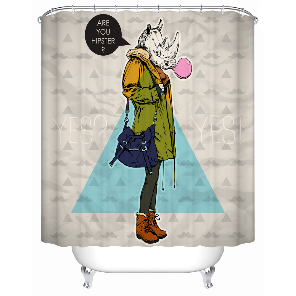 Custom Cartoon Design Hipster Polyester Shower Curtain Polyester Digital  Print Water Repellent Fabric Bathroom Decor Curtain