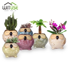 WITUSE Smiling Owl Ceramic Potted Flower Pots Lovely Planters Flowerpot Flower Vase Plant Pot For Office Shop Garden(China)