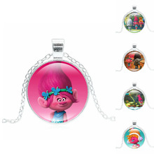Silver Plated Jewelry with DreamWorks Trolls Poppy Pattern Glass Cabochon Anime Choker Long Pendant Necklace for Women Kids