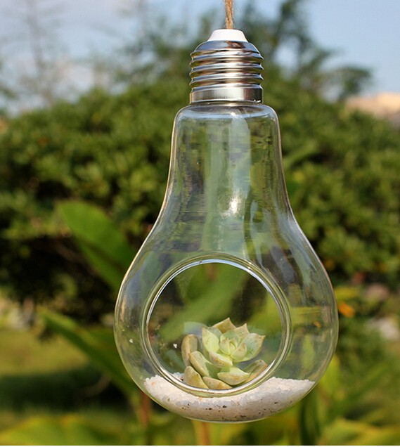 Amazing 50 Pcs Transparent Clear Wedding Crafts Crystal Hanging Light Bulb Shape  Glass Vase Flower Plant Container