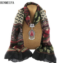 [RUNMEIFA]Women Fashion Charms Scarf Jewellery Pendant Cachecol Jewelry Scarves Necklace Scarfs Warm Alloy Necklace Tassel Beads