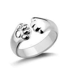 Cute Cat Claw Ear Silver Plated Ring Wedding Couple Rings Women Men Forever Love Fashion Jewelry Lover Engagement Gift 7C0045(China)