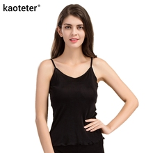 100% Pure Silk Women's Camisoles Female Thin Slim Halter Tanks Tops Femme Simple Sling Women Sexy Camis Woman Knit Silk Ladies(China)