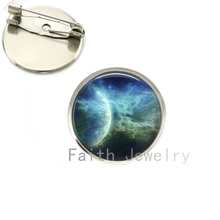 Planets Nebula Sunrise Eclipse alaxy brooch pins Solar System Cosmos art pture brooches Hand Crafted jewelry wholesale NS093(China)
