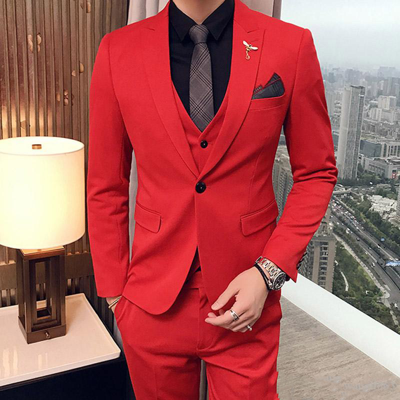 Hot Red Men Suits for Wedding Prom Evening Party Groom Tuxedos Best Man Blazers Slim Fit Terno Masculino Costume Homme 3Piece