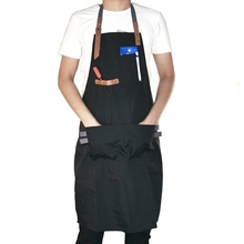 Men Kitchen Restaurant Apron Cooking Bib Aprons Working Apron Adjustable Straps Workwear Chef Aprons for Woman Black