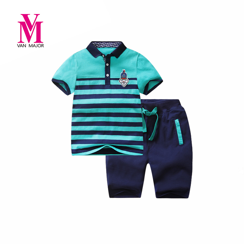Boys Clothing Sets Children Sport Suits Baby Boys Polo Shirts + Shorts 2 Pcs Sets Clothes Fashion Design Comfortable<br>