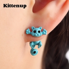 Kittenup New Multiple Color Classic Fashion Kitten Animal brincos Jewelry Cute Cat Stud Earrings For Women Girls Dropshipping(China)
