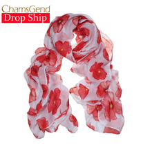 Chamsgend Newly Design Fashion Red Poppy Scarf Print Long Scarves Flower Beach Wrap Ladies Stole Shawl July31 Drop Shipping(China)