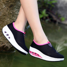 Slimming women running shoes Fitness sneakers Swing summer Jogging Damping Training Height Increasing Wedges shoes(China)