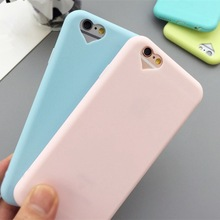 High Quality Cute Candy Color Loving Heart matte Soft TPU Silicone Phone Case Cover For iphone 5 SE 5s/6 6s/6Plus with dust plug