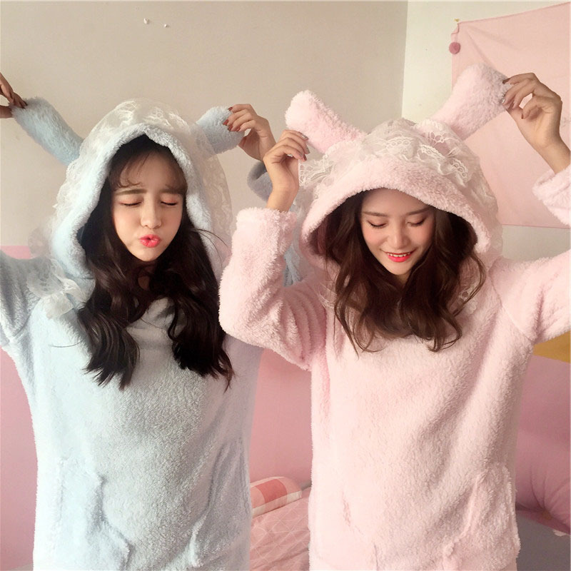 Women Sleepwear winter Autumn Warm Coral Fleece Home Dress Pink flannel lace Pyjama Nightwear nightdress For Ladies Nightgown