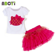 4 Sets/lot 2015 New Summer Kids Suit Baby Girls Clothing Sets Hello Kitty T-shirt + Tutu Skirt Two Piece Set Children Clothes(China)