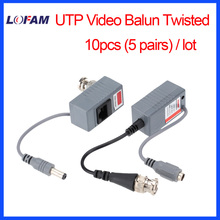 LOFAM 10pcs 5Pairs Video Balun Transceiver BNC UTP RJ45 With Video And Power Over CAT5/5E/6 Cable For HD CVI/TVI/AHD Camera DVR