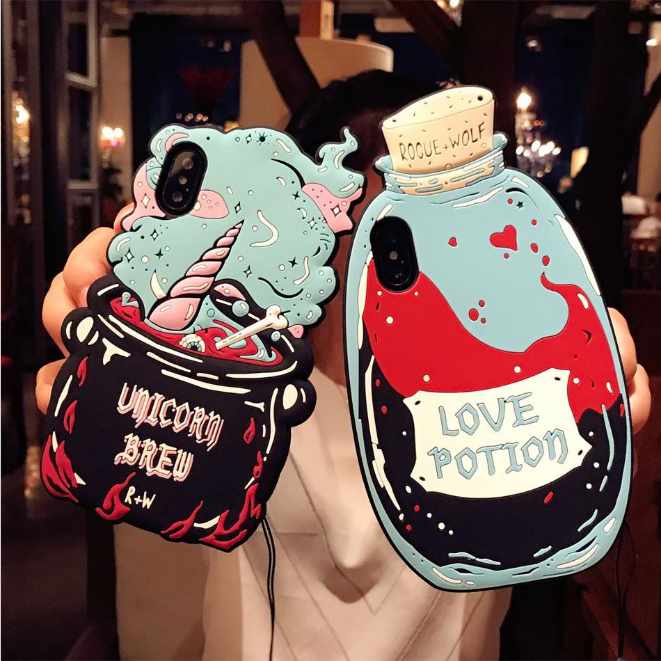 DOEES 3D Cute Love Potion Unicorn Brew Soft Silicone Phone Bag Case Cover Skin For iPhone 6 6S Plus 7 Plus 8 Plus X Fundas (3)
