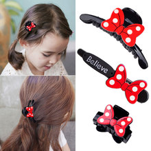 M MISM 1 PC Children Bowknot Hairpins Mini Red Color White Dot Cartoon Mouse Hair Claw Headband Girl Barrettes Hair Accessories