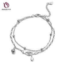 Danze Punk Rock Double Layer Link Chain Bells Anklet For Women Water Drop Crystal Eye Sandals Pulseras Tobilleras Mujer Foot