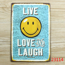 """Love and Laugh"" Vintage Metal Tin Signs Retro Tin Plate Sign Wall Decoration for Cafe Bar Shop and Restaurant Custom Neon Sign"