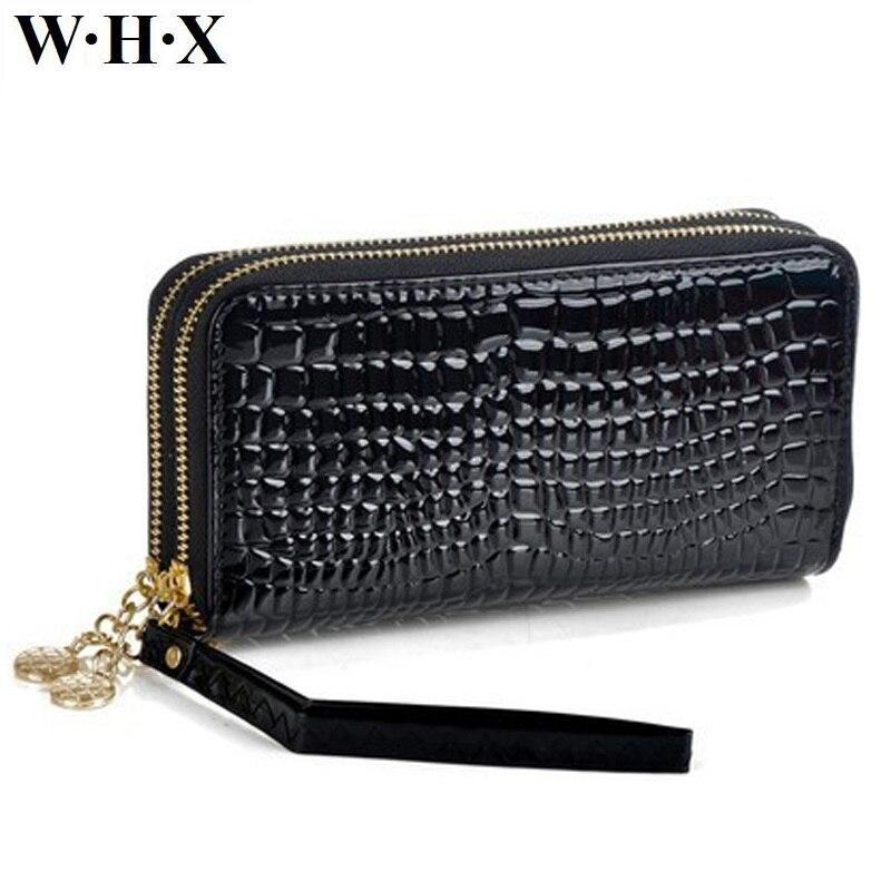 WHX Phone Wallets Women Long Wallet Female Double Zipper Wallet Coin Purse Pocketbook Billfold Card Money Bag Patent Leather New