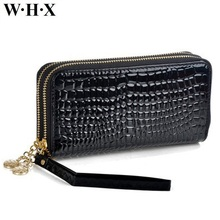 WHX Phone Wallets Women Long Wallet Female Double Zipper Wallet Coin Purse Pocketbook Billfold Card Money Bag Patent Leather New