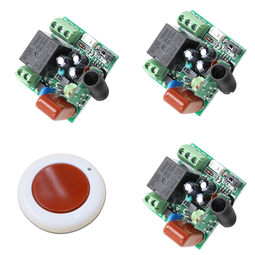 Simple Design Simple Life 1CH RF Wireless Light Remote Control Switch 220V 3* Receiver+1* Wall Round Transmitter 315/433mhz(China)