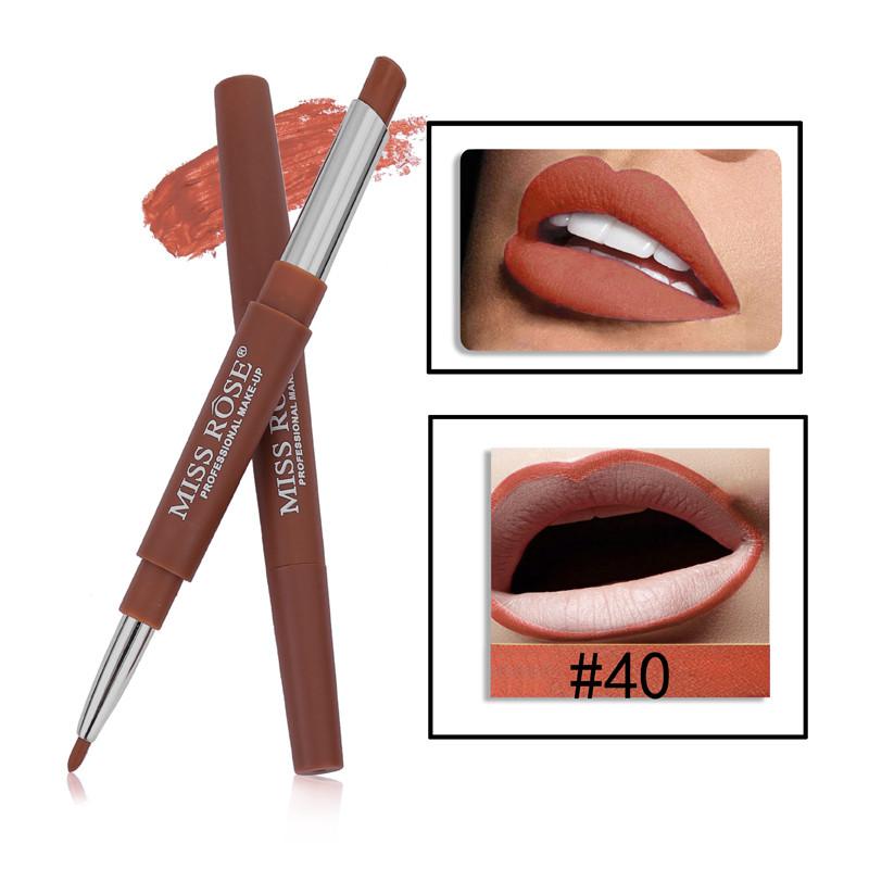 40 8 Color Double-end Lip Makeup Lipstick Pencil Waterproof Long Lasting Tint Sexy Red Lip Stick Beauty Matte Liner Pen Lipstick