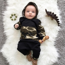 2018 New fashion baby boy girl clothes long pants camouflage camo hoodie Tops+pants newborn 2pcs outfit infant clothing set(China)