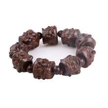 Natural Vietnam agarwood eighteen Luo Han fo head aloes wood carving Bracelet men Laughing Buddha Bracelet(China)
