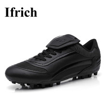 Ifrich Football Shoes Mens Boys Cleats Leather Soccer Spikes Shoes Black Footbal Trainers Kids Cheap Training Football Sneakers