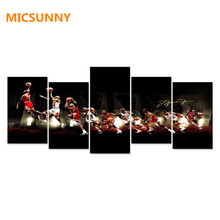 MICSUNNY Jordan Basketball HD Canvas Prints 5 Pieces Painting Wall Art Home Decor Panels Sport Poster For Living Room Frame(China)