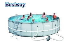 56647(56483) Bestway 427*122cm Power Steel Rattan Frame Pool Set(Pool,Filter,Ladder,Mat & Cover)/14'x4' Round Above Ground Pool