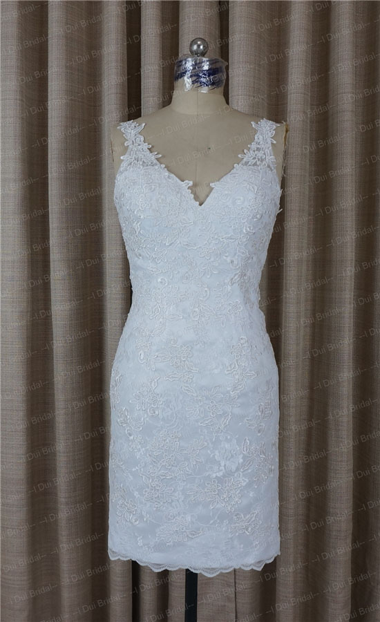 Wedding Dress with Detachable Skirt Illusion Lace Back Two Way Long ...