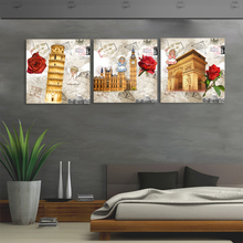 3 Pieces no frame picture Canvas Prints Eiffel Tower Pisa Big Ben rose Liberty goddess Colosseum Steam train Sailing boat