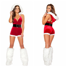 New Year New Arrival Christmas Costumes for Women Red Santa Sexy Suspenders V-neck Dress Villi Hat And White Leg Warmers