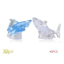 EBOYU(TM) 3D Crystal Puzzle Shark with Flash Light DIY Model Buliding Toy(China)