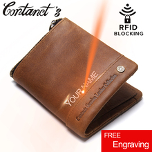 Buy Contact's 2017 New Men Genuine Leather Bi-fold Wallet Vintage Brand Rfid Blocking Wallets Zipper Coin Purse Small Male Money Bag for $18.25 in AliExpress store