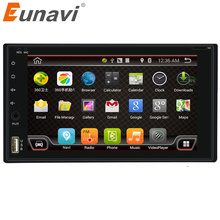 Eunavi 7'' Quad Core 2 Din Pure Android 6.0 double din Car radio car pc GPS Navigation Stereo WiFi 3G Touch Screen for car dvd