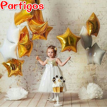 Mixed 10pcs 18 inch white gold star foil Helium balloons Metallic pure color globos Wedding/birthday party decoration supplies