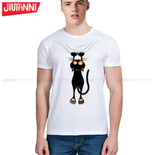 Hot sale summer naughty black cat 3D t shirt Men 's clothing lovely cartoon shirt Good quality comfortable  casual tops