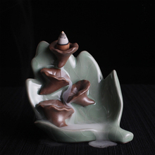 Backflow Smoke Incense Burner Ceramics Summer Lotus Petals Sweets Porcelain Creative Buddhism Gifts Incense Burners(China)
