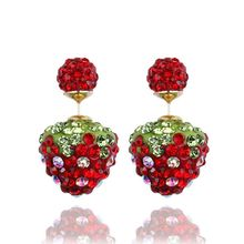 shamballa earrings double side earrings for women fashion jewelry aros brincos boucle d'oreille strawberry crystal stud earing