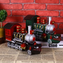 High simulation handmade steam locomotive train model creative vintage Resin craft birthday gift toy home decor bar ornaments(China)