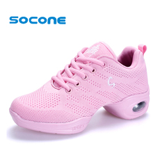 New 2017 Women Mesh Ballet Shoes Breathable Dance Sneakers Light Weight Women Ballroom Shoes Performance Jazz Shoes Flexible(China)