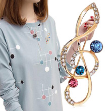 Shining Crystal musical note Brooch Pins For Women charming Jewelry Fashion Wedding Party Invitation Bijoux Broche Femme